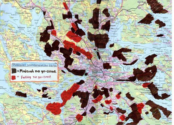 Stockholms socioekonomiska karta med no go zones inritade. Lågupplöst version